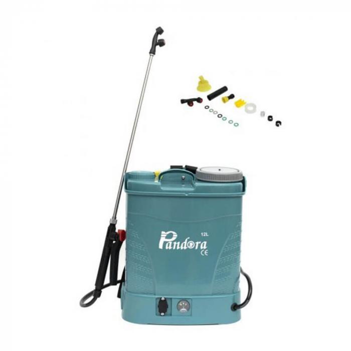 Pompa stropit electrica Pandora 12 Litri, 5 Bar, Model 2020 + regulator presiune, vermorel cu baterie acumulator + Atomizor electric portabil Pandora 0