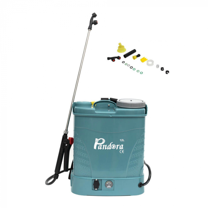 Pompa stropit electrica Pandora 12 Litri, 5 Bar, Model 2020 + regulator presiune, vermorel cu baterie acumulator 0