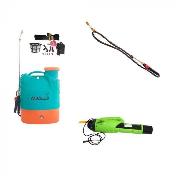 Pompa stropit gradina electrica Brillo, 16 litri + Atomizor electric portabil Pandora + Lance extensibila telescopica Inox 230 cm 0