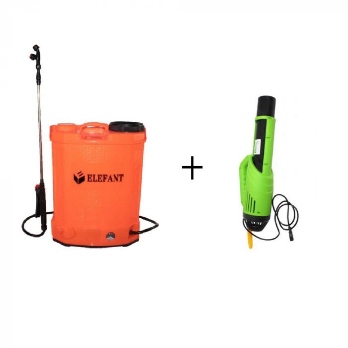Pompa stropit gradina electrica Elefant, 16 litri, acumulator, 5.5 bar + Atomizor electric portabil Pandora 0