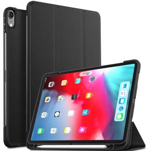 Husa protectie din piele ecologica si gel TPU pentru iPad Pro 11'' (2018), neagra [0]