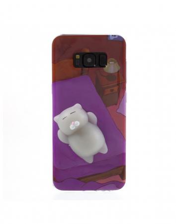 Carcasa protectie spate cu pisica Squishy pentru Samsung Galaxy S8, mov0