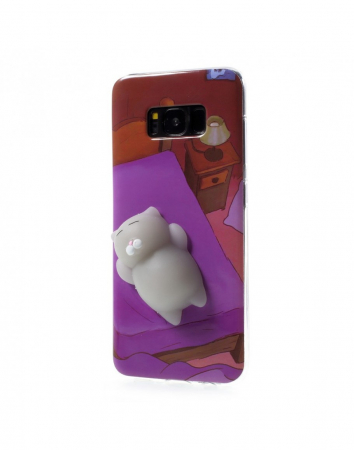 Carcasa protectie spate cu pisica Squishy pentru Samsung Galaxy S8, mov1