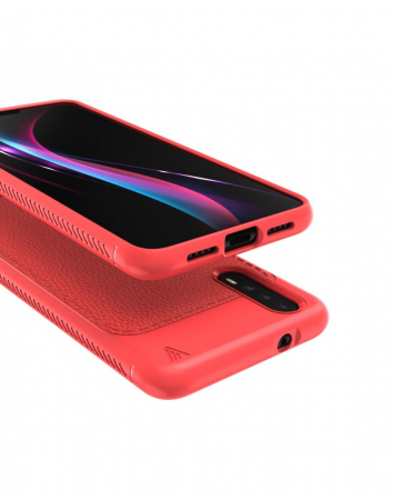 Carcasa protectie spate din piele ecologica si gel TPU pentru Huawei P20, rosie2