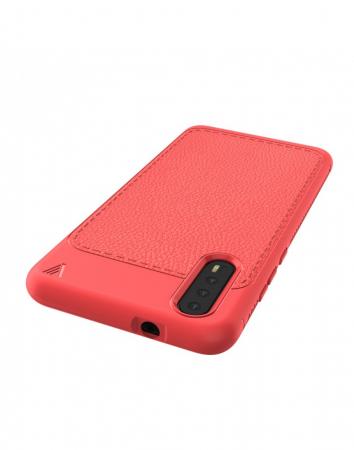 Carcasa protectie spate din piele ecologica si gel TPU pentru Huawei P20, rosie9