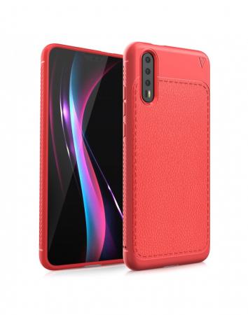 Carcasa protectie spate din piele ecologica si gel TPU pentru Huawei P20, rosie0