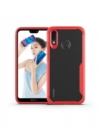 Carcasa protectie spate din plastic si gel TPU pentru Huawei P20 Lite, rosie0