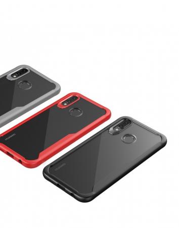 Carcasa protectie spate din plastic si gel TPU pentru Huawei P20 Lite, rosie1