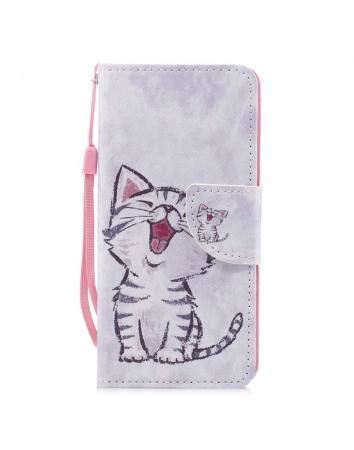 Husa protectie imprimata ,,Pisica'' din piele ecologica pentru Huawei P20 Lite0