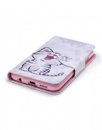 Husa protectie imprimata ,,Pisica'' din piele ecologica pentru Huawei P20 Lite4