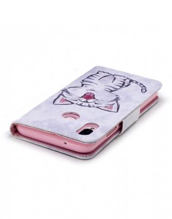 Husa protectie imprimata ,,Pisica'' din piele ecologica pentru Huawei P20 Lite2