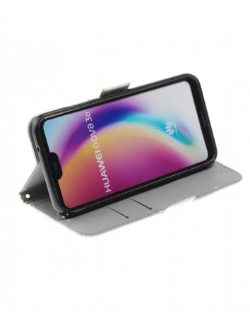 Husa protectie imprimata din piele ecologica pentru Huawei P20 Lite5