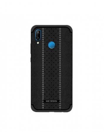 Carcasa protectie spate din piele ecologica si gel TPU pentru Huawei P20 Lite, neagra2