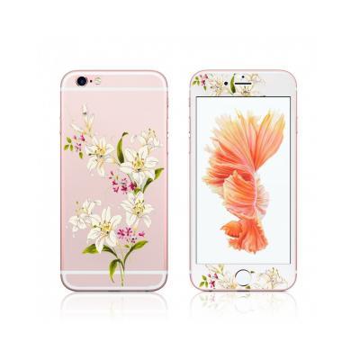"""Pachet sticla securizata fata si spate 0.3 mm imprimata """"Lily"""" pentru iPhone 6s / 6 4.7 inch1"""