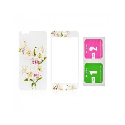 """Pachet sticla securizata fata si spate 0.3 mm imprimata """"Lily"""" pentru iPhone 6s / 6 4.7 inch2"""