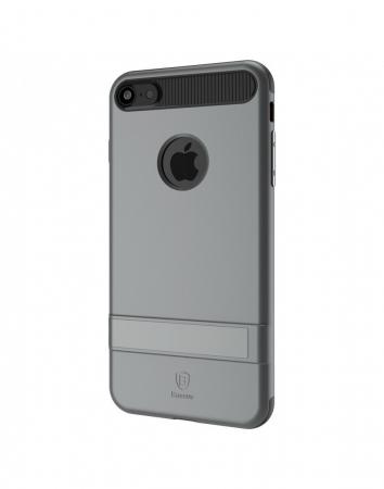 Carcasa protectie spate BASEUS din plastic si gel TPU cu suport pentru iPhone 7 Plus 5.5 inch, gri2