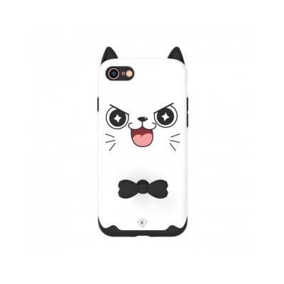 "Carcasa protectie spate KINGXBAR imprimata ""Pisica"" pentru iPhone 7 / iPhone 8, alba0"