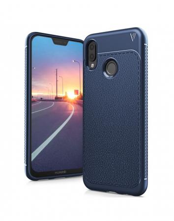 Carcasa protectie spate din piele ecologica si gel TPU pentru Huawei P20 Lite0