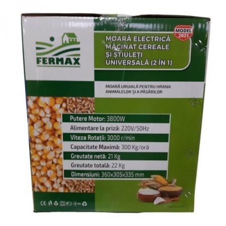 Pachet moara cu ciocanele pentru uruiala de cereale, Fermax, 3.8Kw, 200kg/h, cuva mare + suport cu picioare5
