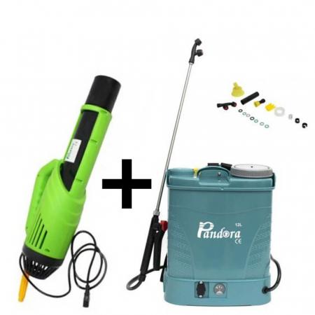 Pompa stropit electrica Pandora 12 Litri, 5 Bar, Model 2021 + regulator presiune, vermorel cu baterie acumulator + Atomizor electric portabil Pandora1