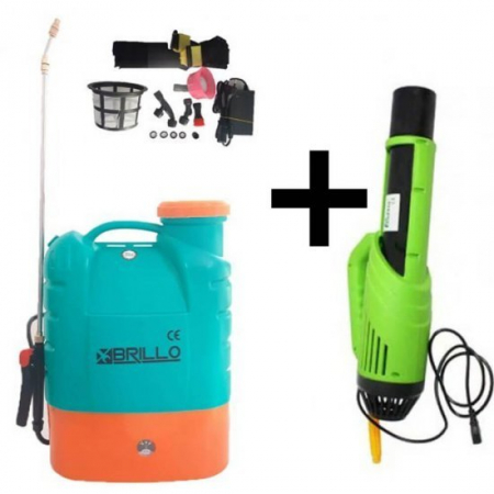 Pompa stropit gradina electrica Brillo, 16 litri, acumulator, 5.5 bar + Atomizor electric portabil Pandora3