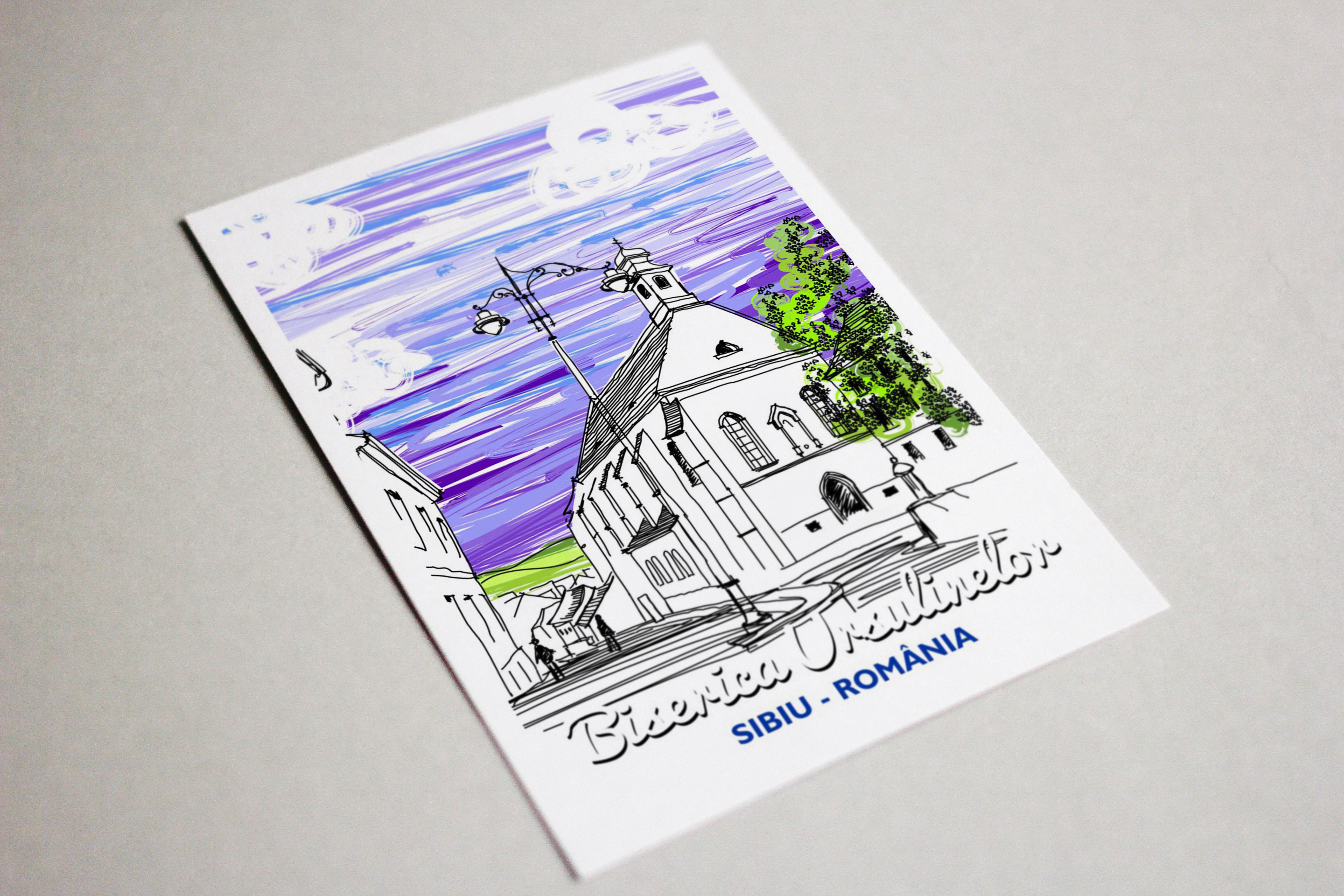 Carte postala model Biserica Ursulinelor, suvenir Sibiu3