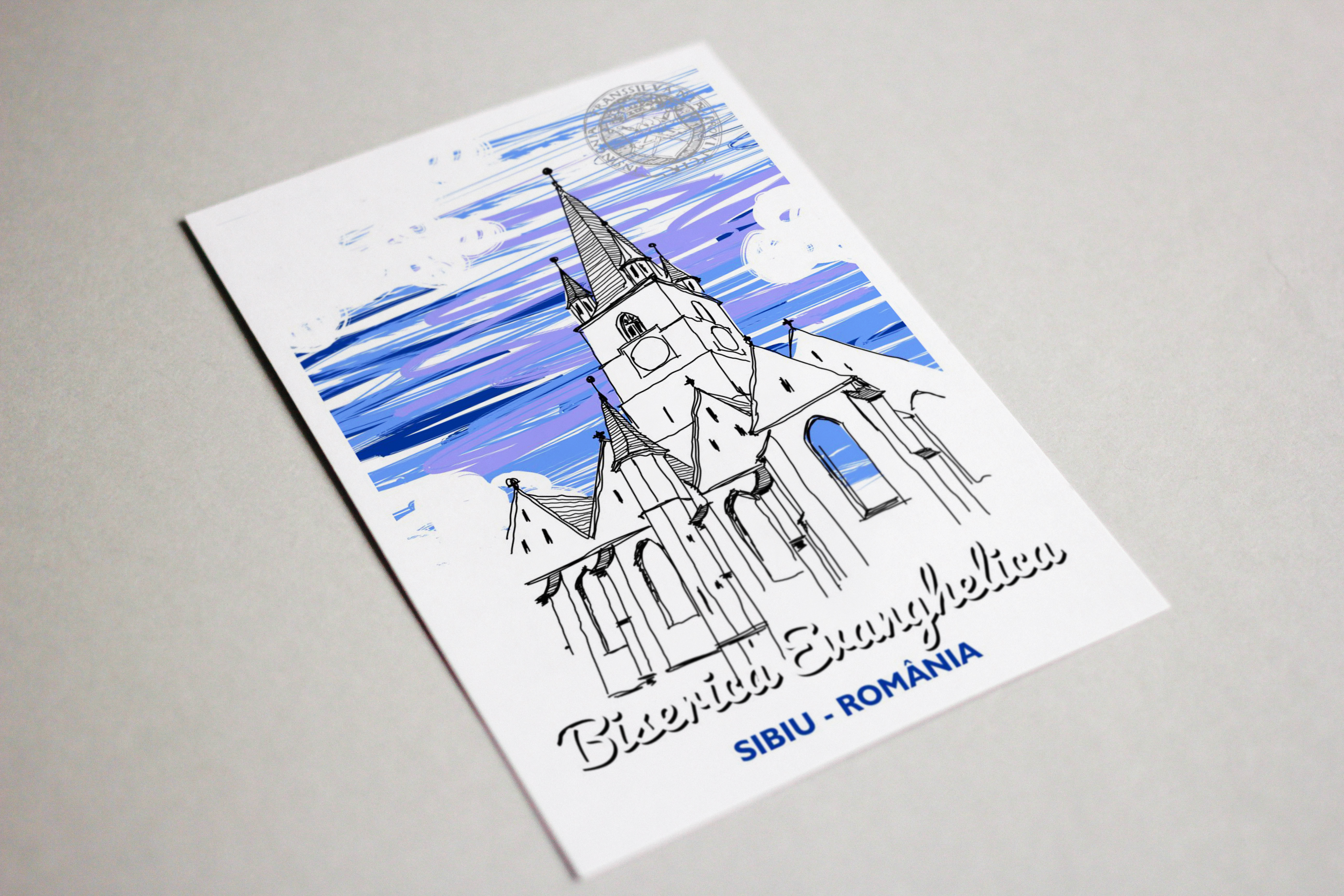 Carte postala Biserica Evanghelica, suvenir Sibiu 3