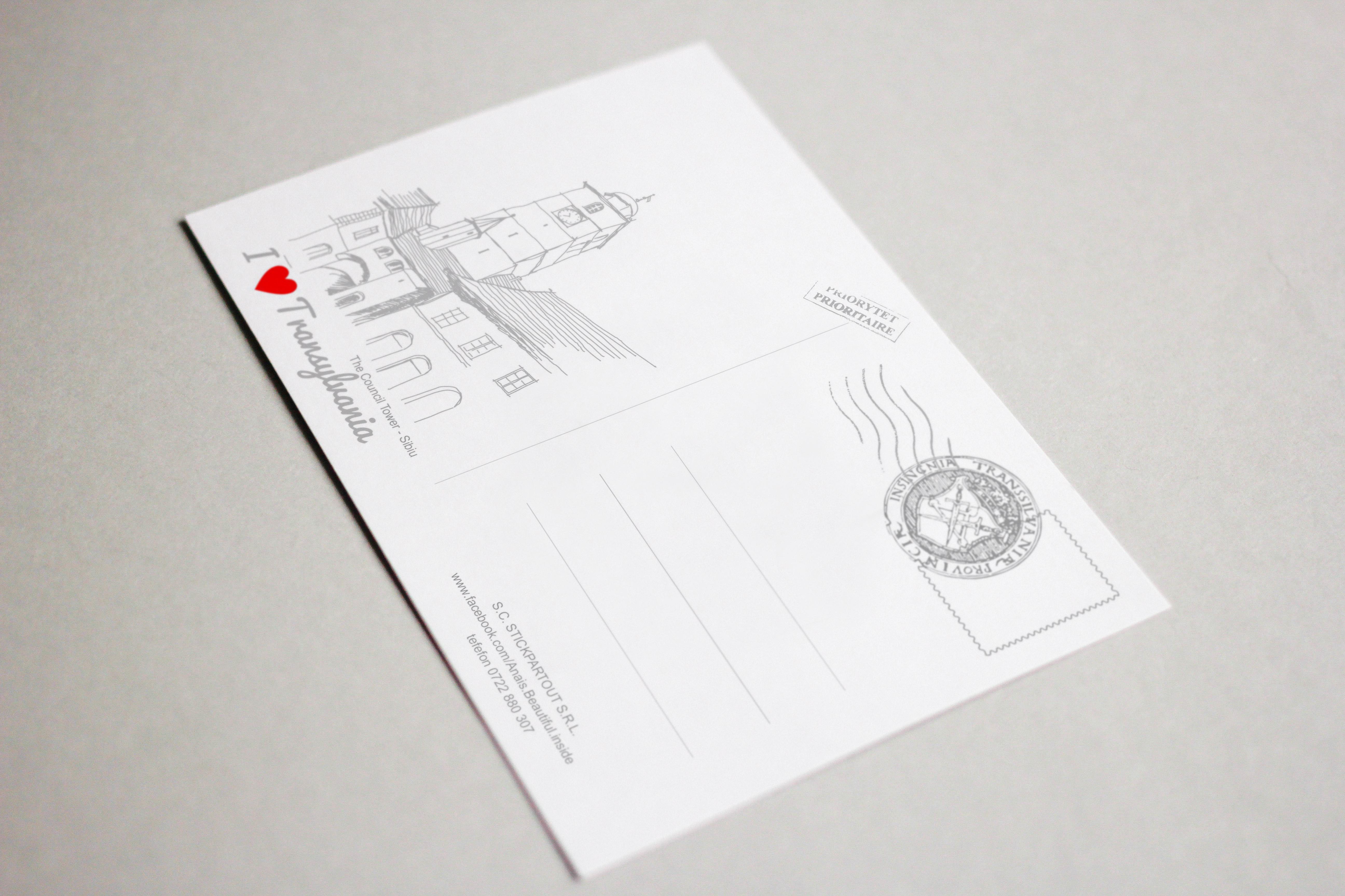 Carte postala model Turnul Sfatului, suvenir Sibiu2