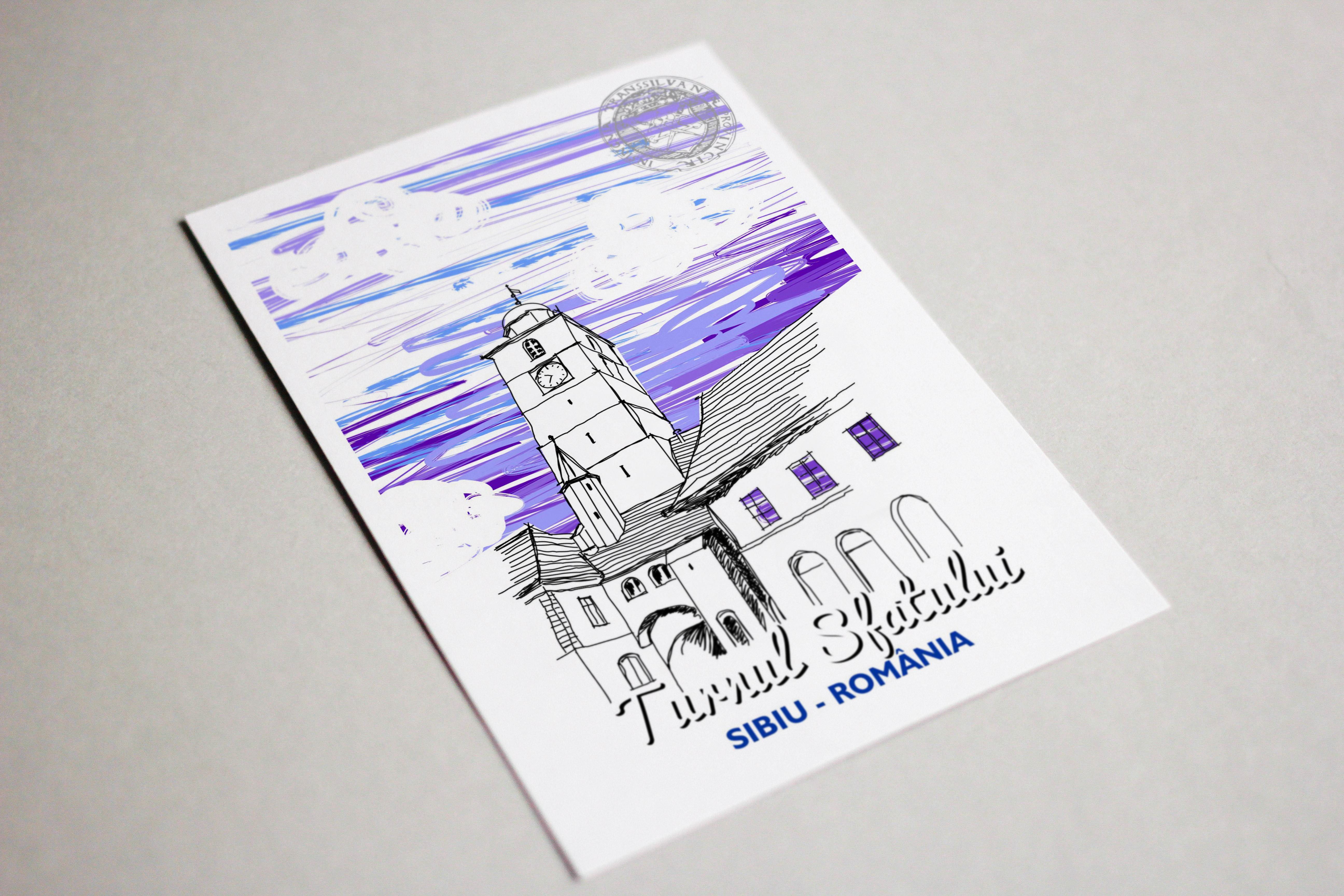 Carte postala model Turnul Sfatului, suvenir Sibiu3