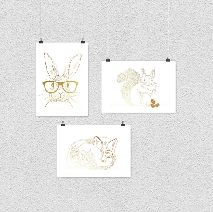Set 3 tablouri, Veverita, Vulpea si Iepurele, ilustratie originala, animalele padurii, inramate, dimensiune 24x30cm/buc [10]