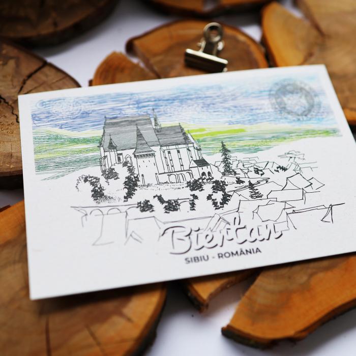 Carte postala Biertan, Sibiu, suvenir Transilvania [3]