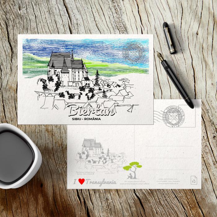 Carte postala Biertan, Sibiu, suvenir Transilvania [2]