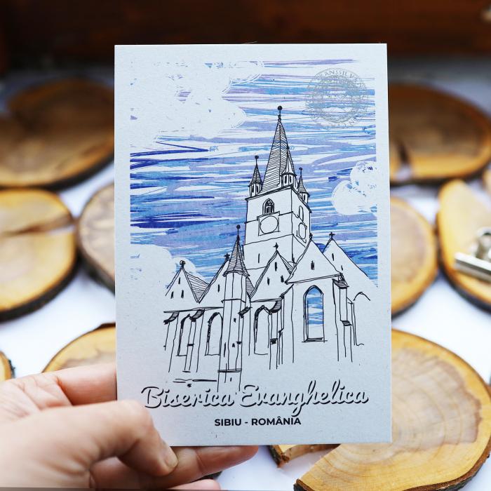 Carte postala Biserica Evanghelica, suvenir Sibiu 5