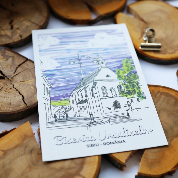 Carte postala model Biserica Ursulinelor, suvenir Sibiu [3]
