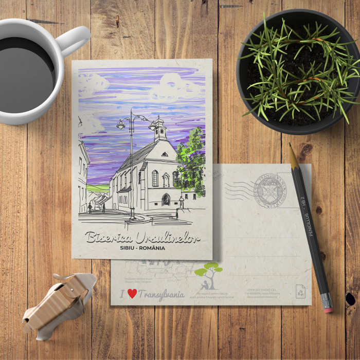 Carte postala model Biserica Ursulinelor, suvenir Sibiu [2]
