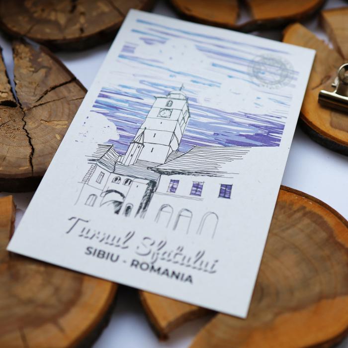 Carte postala model Turnul Sfatului, suvenir Sibiu [3]