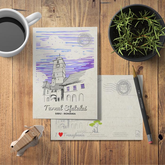 Carte postala model Turnul Sfatului, suvenir Sibiu [2]