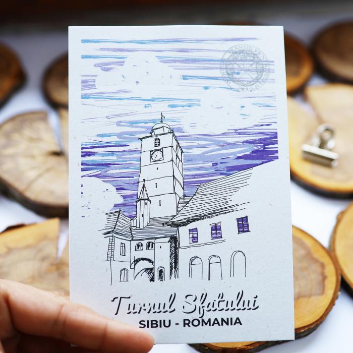 Stand cu 4 seturi de carti postale si 1 set caiet de schite, Sibiu 1
