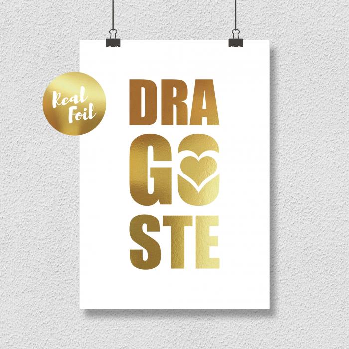 Dragoste, colaj metalic auriu, cadou pentru voi 4