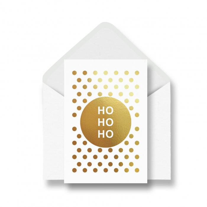 Felcitare Craciun, Ho Ho Ho, cu buline, colaj metalic auriu 0