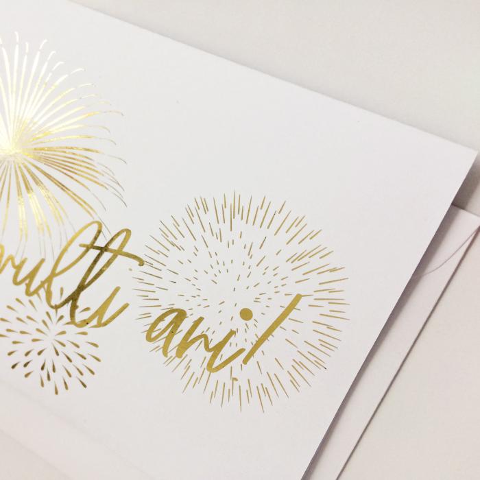Felicitare cu plic, La Multi Ani, colaj auriu, sarbatoare 2