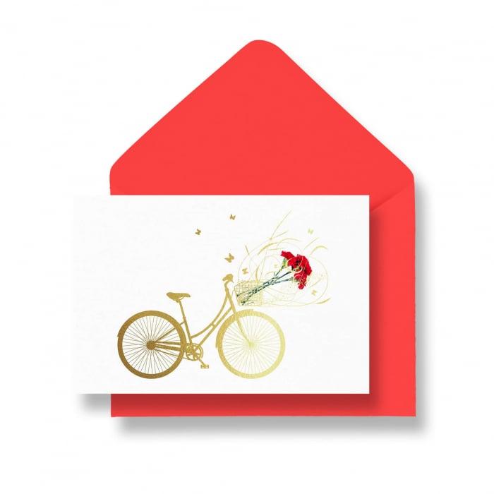 Felicitare cu plic, Bicicleta Primavara, flori, bicicleta, primavara 0