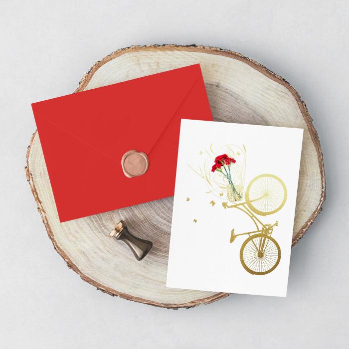 Felicitare cu plic, Bicicleta Primavara, flori, bicicleta, primavara 3