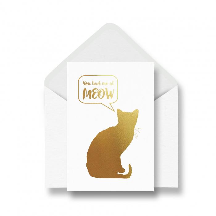 Felicitare cu plic, Cat Meow, mesaj indragostiti, colaj metalic auriu 0