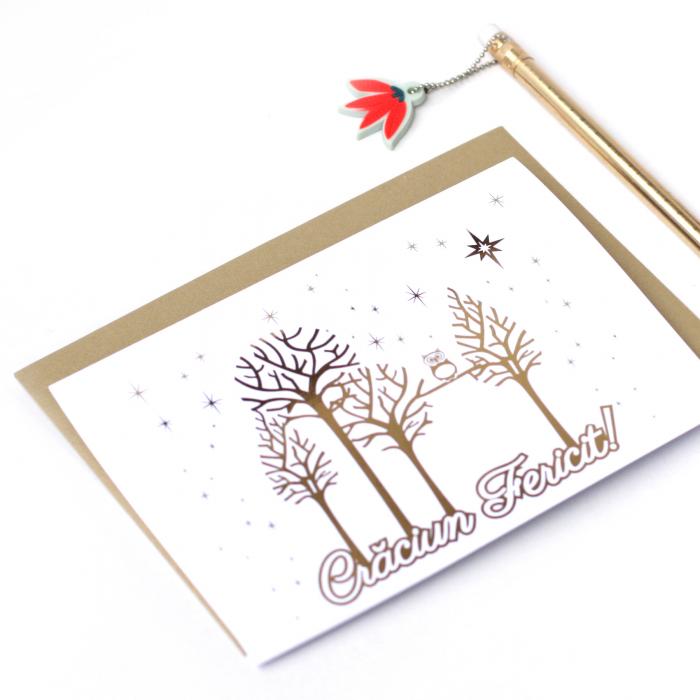 Felicitare cu plic, Copaci cu Bufnita, model de iarna, colaj metalic auriu, cadou de Craciun [2]