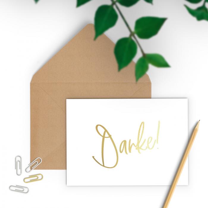 Felicitare cu plic, Danke, colaj auriu, caligrafie 1