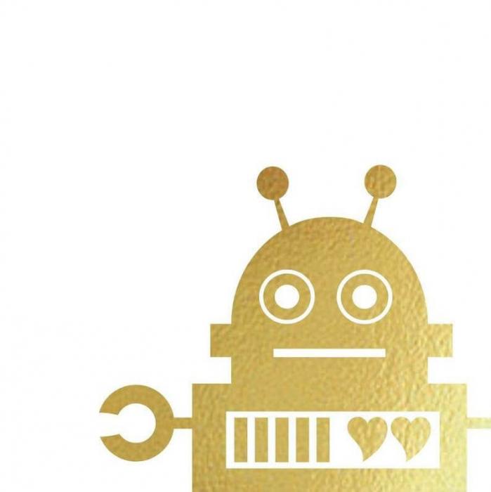 Felicitare cu plic, Robot indragostit, colaj auriu 2