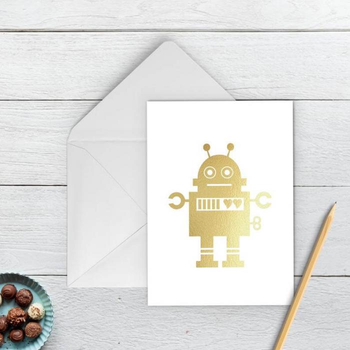 Felicitare cu plic, Robot indragostit, colaj auriu 1