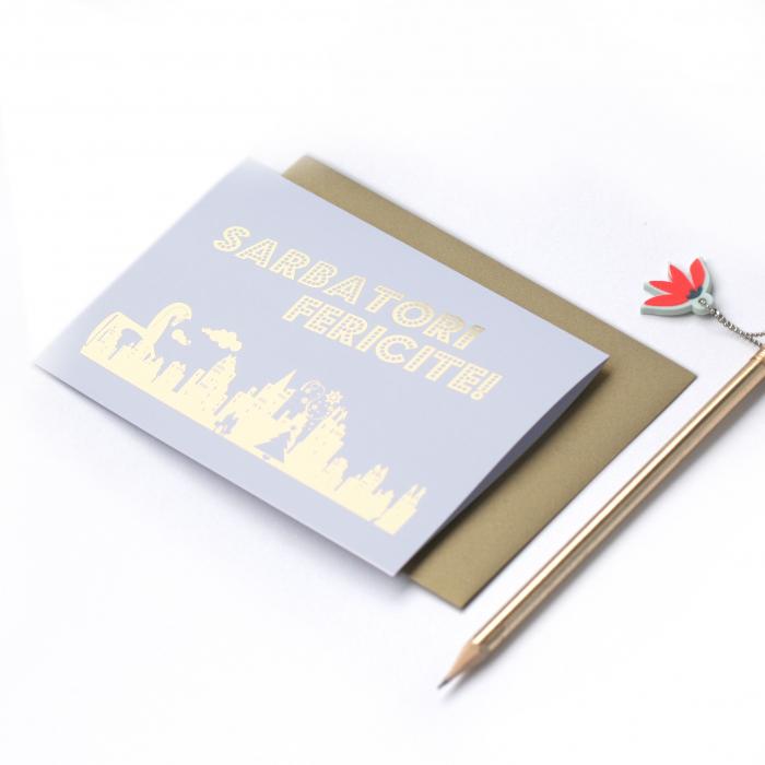 Felicitare cu plic, Sarbatori, colaj metalic auriu, oras iarna, cuplu fericit 1
