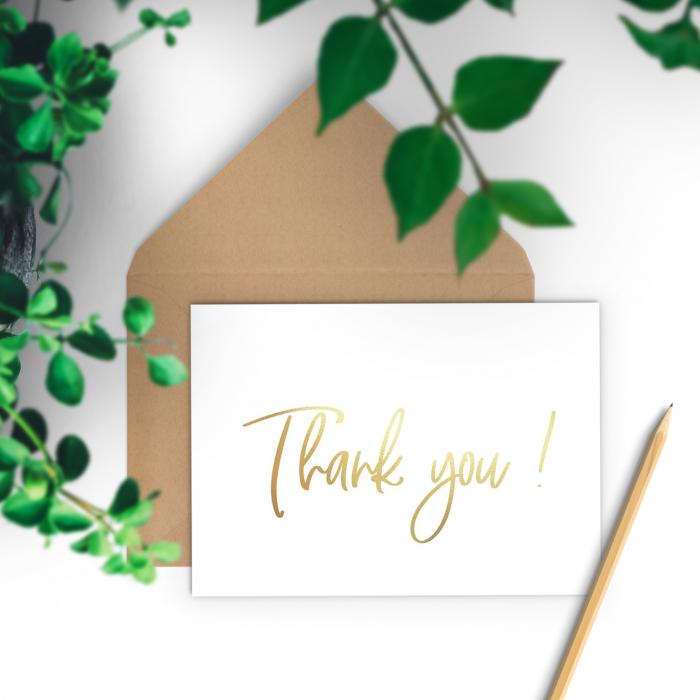 Felicitare cu plic, Thank you, colaj auriu, caligrafie 1